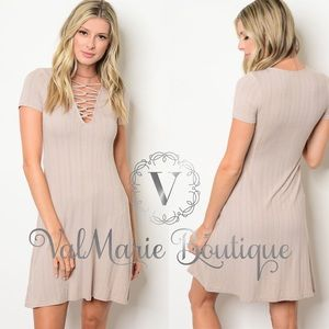 Taupe lace up ribbed dress